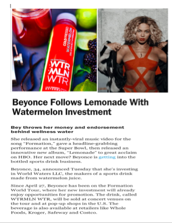"""Beyonce Follows Lemonade With Watermelon Investment"""